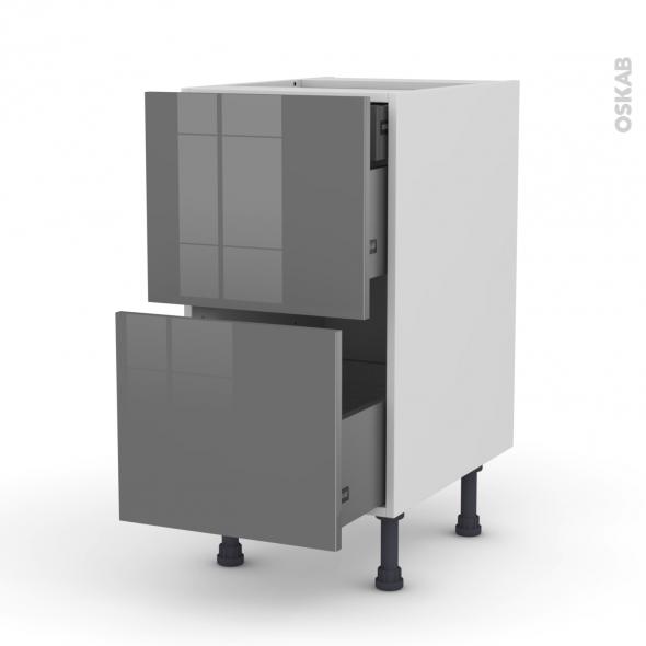 Meuble de cuisine - Casserolier - STECIA Gris - 2 tiroirs 1 tiroir à l'anglaise - L40 x H70 x P58 cm