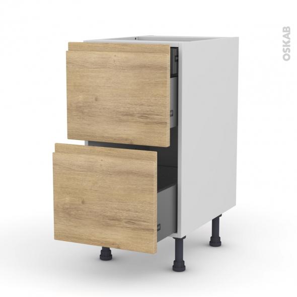 Meuble de cuisine - Casserolier - IPOMA Chêne naturel - 2 tiroirs 1 tiroir à l'anglaise - L40 x H70 x P58 cm