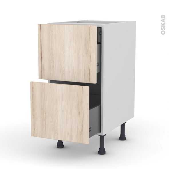 IKORO Chêne clair - Meuble casserolier - 2 tiroirs-1 tiroir anglaise - L40xH70xP58