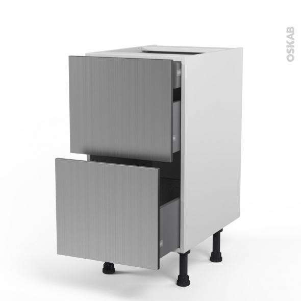 STILO Inox - Meuble casserolier - 2 tiroirs-1 tiroir anglaise - L40xH70xP58