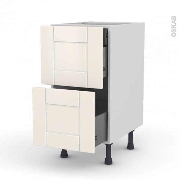 Meuble de cuisine - Casserolier - FILIPEN Ivoire - 2 tiroirs 1 tiroir à l'anglaise - L40 x H70 x P58 cm