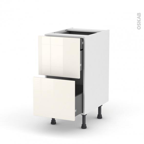 Meuble de cuisine - Casserolier - KERIA Ivoire - 2 tiroirs 1 tiroir à l'anglaise - L40 x H70 x P58 cm