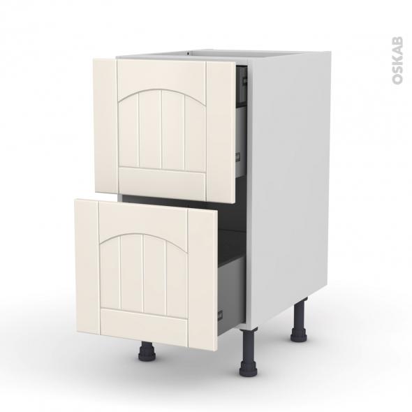SILEN Ivoire - Meuble casserolier - 2 tiroirs-1 tiroir anglaise - L40xH70xP58