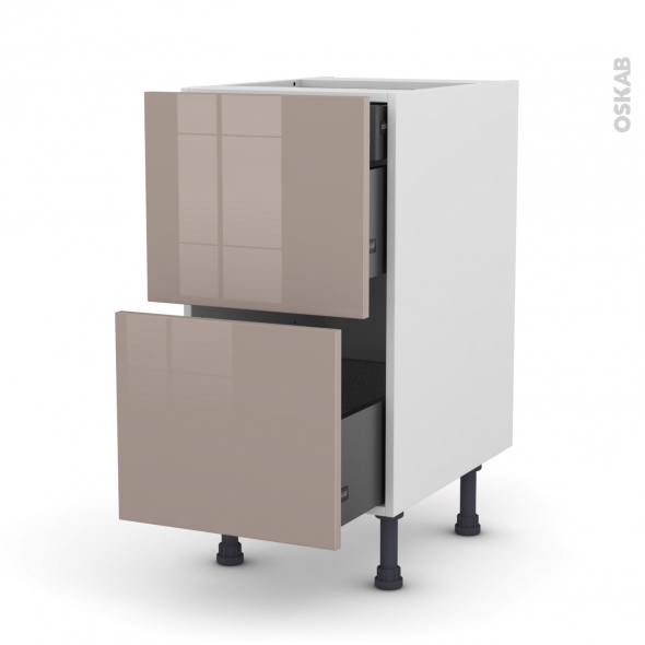 KERIA Moka - Meuble casserolier - 2 tiroirs-1 tiroir anglaise - L40xH70xP58