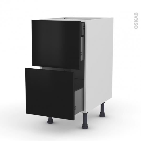 Meuble de cuisine - Casserolier - GINKO Noir - 2 tiroirs 1 tiroir à l'anglaise - L40 x H70 x P58 cm