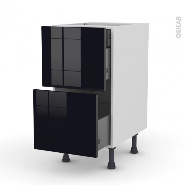 Meuble de cuisine - Casserolier - KERIA Noir - 2 tiroirs 1 tiroir à l'anglaise - L40 x H70 x P58 cm