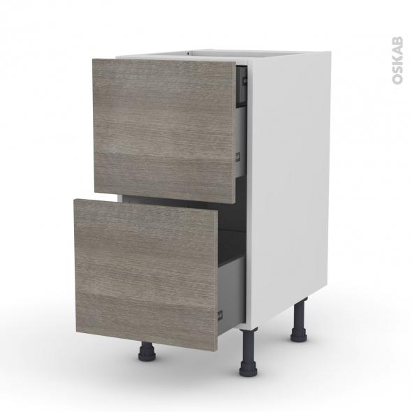 Meuble de cuisine - Casserolier - STILO Noyer Naturel - 2 tiroirs 1 tiroir à l'anglaise - L40 x H70 x P58 cm