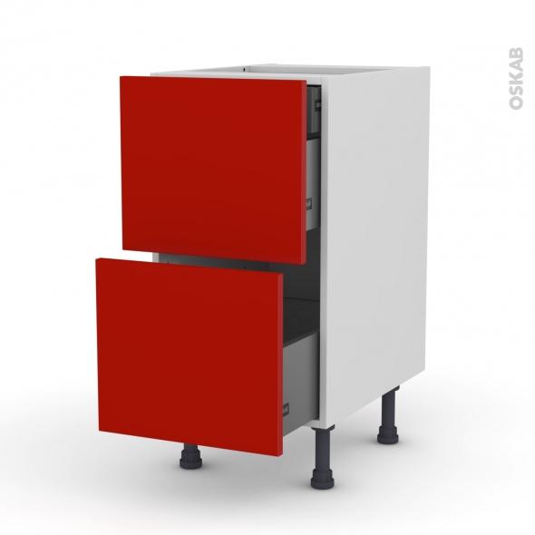 GINKO Rouge - Meuble casserolier - 2 tiroirs-1 tiroir anglaise - L40xH70xP58