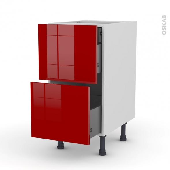 Meuble de cuisine - Casserolier - STECIA Rouge - 2 tiroirs 1 tiroir à l'anglaise - L40 x H70 x P58 cm