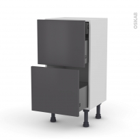 Meuble de cuisine - Casserolier - GINKO Gris - 2 tiroirs 1 tiroir à l'anglaise - L40 x H70 x P37 cm