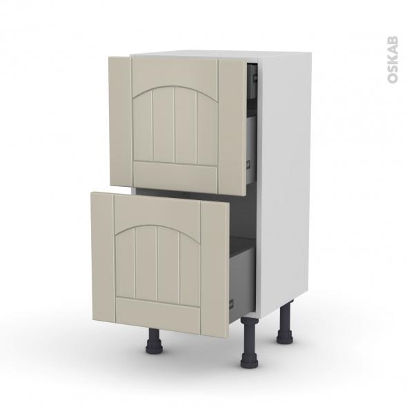 SILEN Argile - Meuble casserolier - 2 tiroirs-1 tiroir anglaise - L40xH70xP37