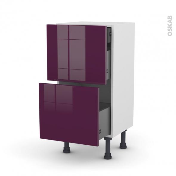 Meuble de cuisine - Casserolier - KERIA Aubergine - 2 tiroirs 1 tiroir à l'anglaise - L40 x H70 x P37 cm