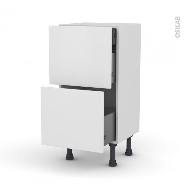 Meuble de cuisine - Casserolier - GINKO Blanc - 2 tiroirs 1 tiroir à l'anglaise - L40 x H70 x P37 cm