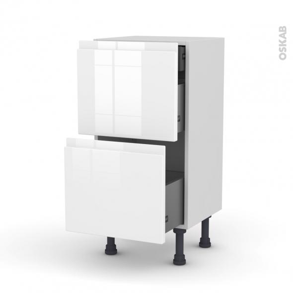 Meuble de cuisine - Casserolier - IPOMA Blanc - 2 tiroirs 1 tiroir à l'anglaise - L40 x H70 x P37 cm