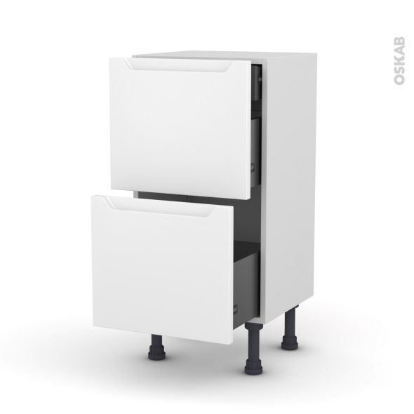 PIMA Blanc - Meuble casserolier - 2 tiroirs-1 tiroir anglaise - L40xH70xP37