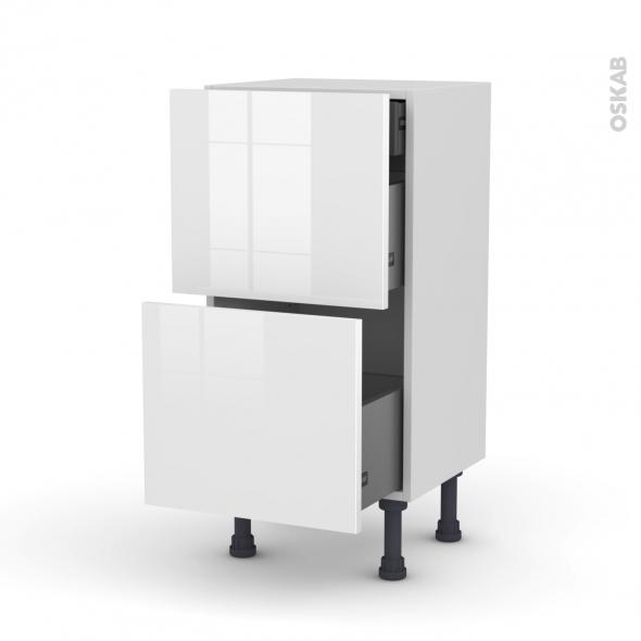 Meuble de cuisine - Casserolier - STECIA Blanc - 2 tiroirs 1 tiroir à l'anglaise - L40 x H70 x P37 cm