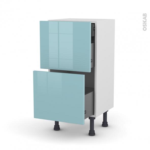 KERIA Bleu - Meuble casserolier - 2 tiroirs-1 tiroir anglaise - L40xH70xP37