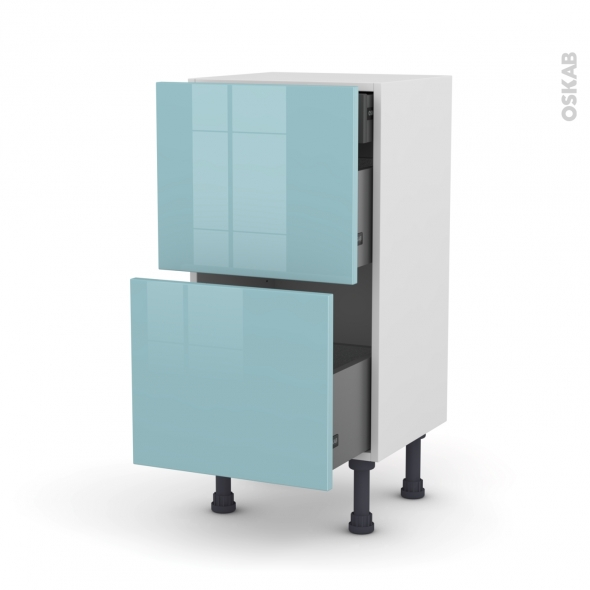 Meuble de cuisine - Casserolier - KERIA Bleu - 2 tiroirs 1 tiroir à l'anglaise - L40 x H70 x P37 cm