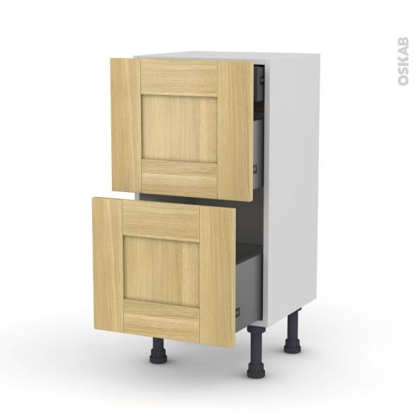 BASILIT Bois brut - Meuble casserolier - 2 tiroirs-1 tiroir anglaise - L40xH70xP37