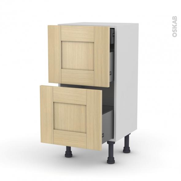 BASILIT Bois verni - Meuble casserolier - 2 tiroirs-1 tiroir anglaise - L40xH70xP37