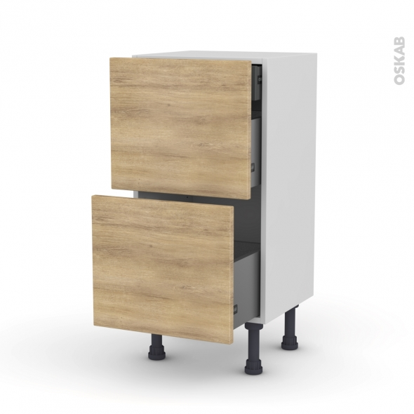 Meuble de cuisine - Casserolier - HOSTA Chêne naturel - 2 tiroirs 1 tiroir à l'anglaise - L40 x H70 x P37 cm