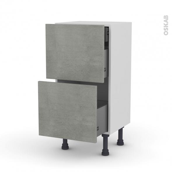 FAKTO Béton - Meuble casserolier - 2 tiroirs-1 tiroir anglaise - L40xH70xP37