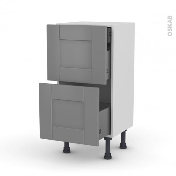 Meuble de cuisine - Casserolier - FILIPEN Gris - 2 tiroirs 1 tiroir à l'anglaise - L40 x H70 x P37 cm