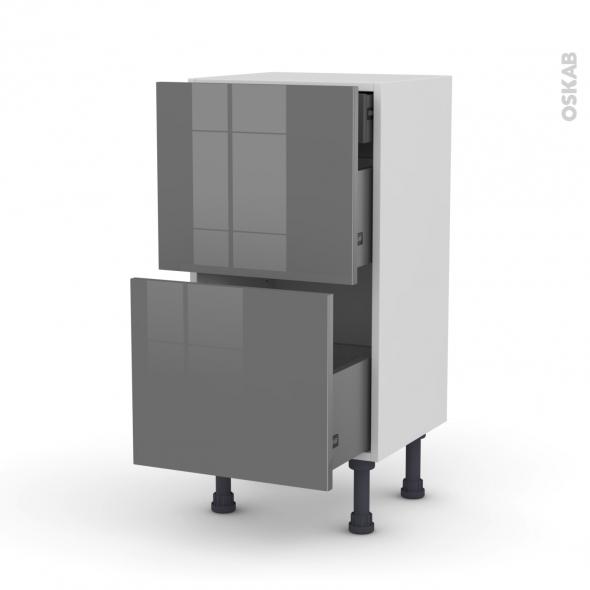 Meuble de cuisine - Casserolier - STECIA Gris - 2 tiroirs 1 tiroir à l'anglaise - L40 x H70 x P37 cm