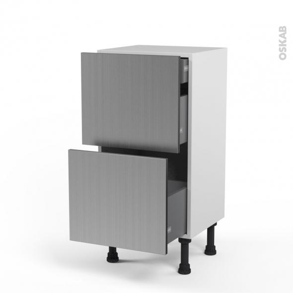 STILO Inox - Meuble casserolier - 2 tiroirs-1 tiroir anglaise - L40xH70xP37