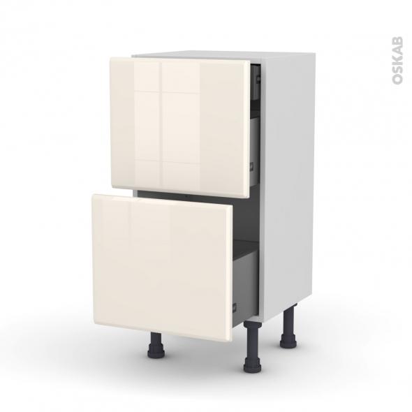 IRIS Ivoire - Meuble casserolier - 2 tiroirs-1 tiroir anglaise - L40xH70xP37