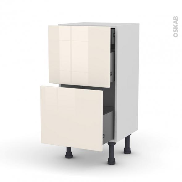Meuble de cuisine - Casserolier - KERIA Ivoire - 2 tiroirs 1 tiroir à l'anglaise - L40 x H70 x P37 cm