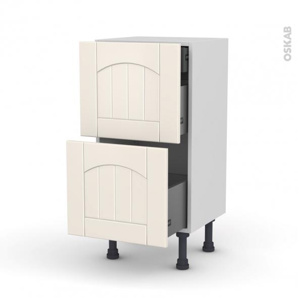 SILEN Ivoire - Meuble casserolier - 2 tiroirs-1 tiroir anglaise - L40xH70xP37