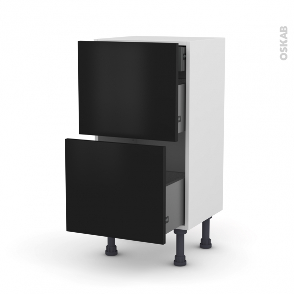Meuble de cuisine - Casserolier - GINKO Noir - 2 tiroirs 1 tiroir à l'anglaise - L40 x H70 x P37 cm