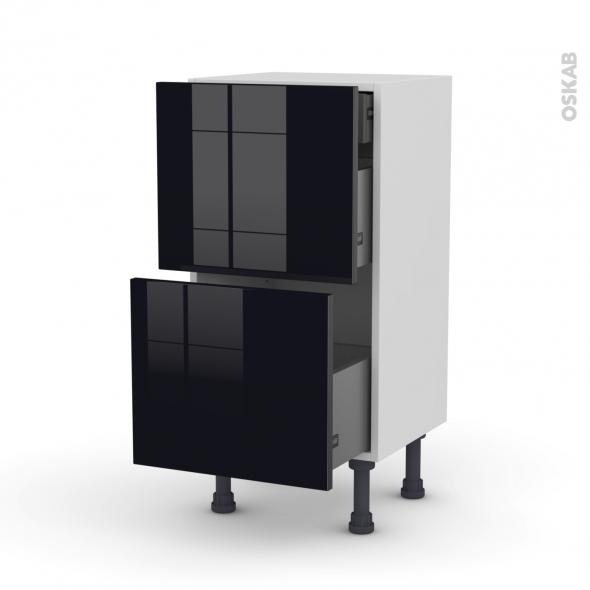 Meuble de cuisine - Casserolier - KERIA Noir - 2 tiroirs 1 tiroir à l'anglaise - L40 x H70 x P37 cm