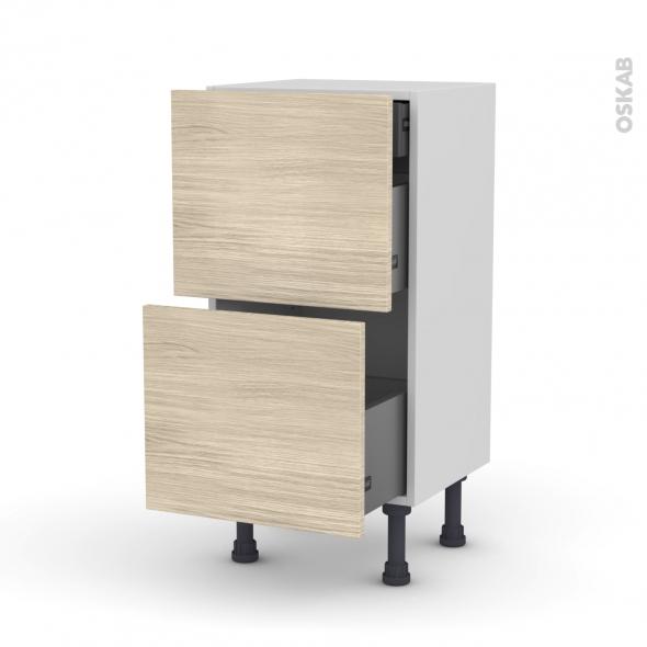 Meuble de cuisine - Casserolier - STILO Noyer Blanchi - 2 tiroirs 1 tiroir à l'anglaise - L40 x H70 x P37 cm