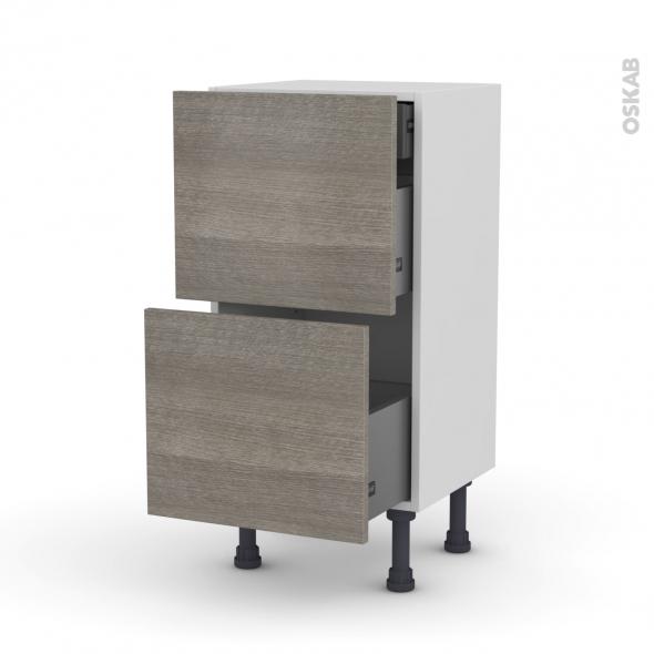 Meuble de cuisine - Casserolier - STILO Noyer Naturel - 2 tiroirs 1 tiroir à l'anglaise - L40 x H70 x P37 cm