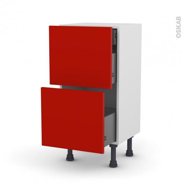 GINKO Rouge - Meuble casserolier - 2 tiroirs-1 tiroir anglaise - L40xH70xP37