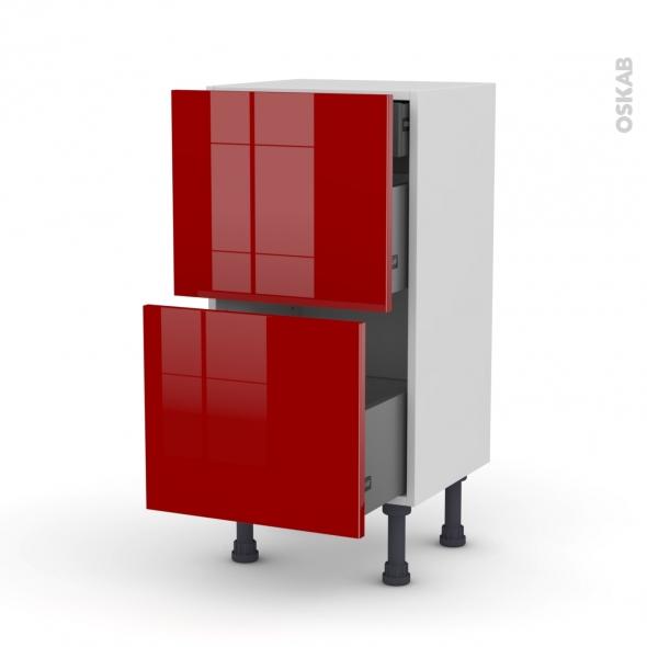Meuble de cuisine - Casserolier - STECIA Rouge - 2 tiroirs 1 tiroir à l'anglaise - L40 x H70 x P37 cm