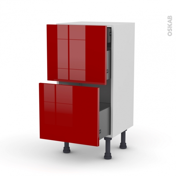 STECIA Rouge - Meuble casserolier - 2 tiroirs-1 tiroir anglaise - L40xH70xP37