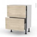 STILO Noyer blanchi - Meuble casserolier - 2 tiroirs-1 tiroir anglaise - L60xH70xP37