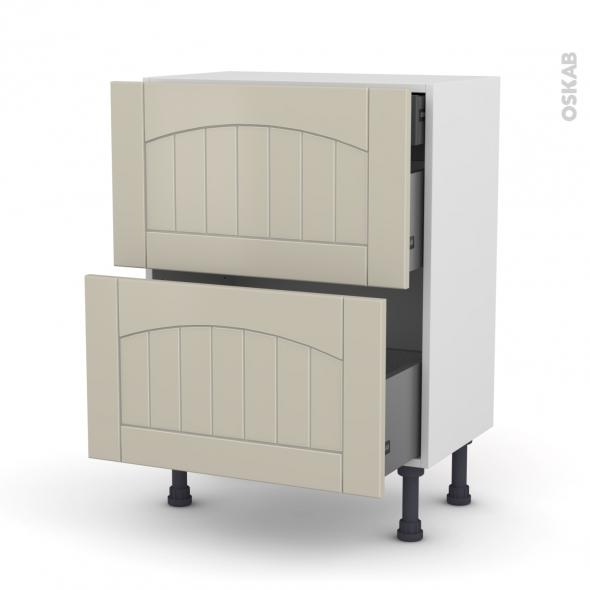 SILEN Argile - Meuble casserolier - 2 tiroirs-1 tiroir anglaise - L60xH70xP37
