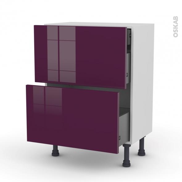 Meuble de cuisine - Casserolier - KERIA Aubergine - 2 tiroirs 1 tiroir à l'anglaise - L60 x H70 x P37 cm