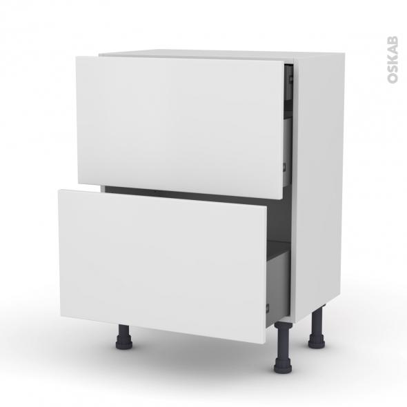 Meuble de cuisine - Casserolier - GINKO Blanc - 2 tiroirs 1 tiroir à l'anglaise - L60 x H70 x P37 cm