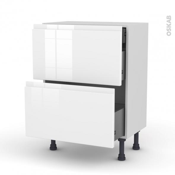 Meuble de cuisine - Casserolier - IPOMA Blanc brillant - 2 tiroirs 1 tiroir à l'anglaise - L60 x H70 x P37 cm