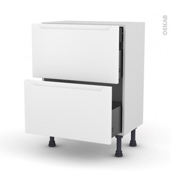 Meuble de cuisine - Casserolier - PIMA Blanc - 2 tiroirs 1 tiroir à l'anglaise - L60 x H70 x P37 cm
