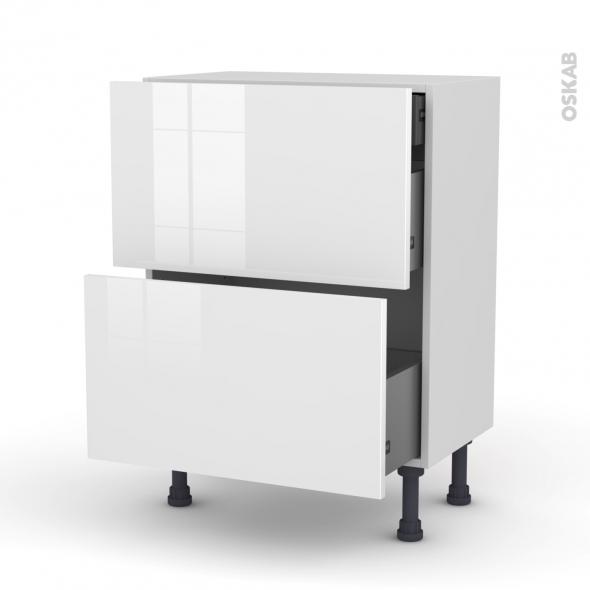 Meuble de cuisine - Casserolier - STECIA Blanc - 2 tiroirs 1 tiroir à l'anglaise - L60 x H70 x P37 cm