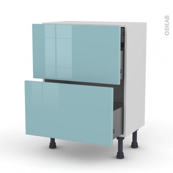 Meuble de cuisine - Casserolier - KERIA Bleu - 2 tiroirs 1 tiroir à l'anglaise - L60 x H70 x P37 cm