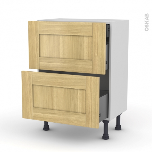 BASILIT Bois brut - Meuble casserolier - 2 tiroirs-1 tiroir anglaise - L60xH70xP37