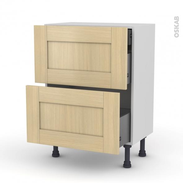 BASILIT Bois verni - Meuble casserolier - 2 tiroirs-1 tiroir anglaise - L60xH70xP37