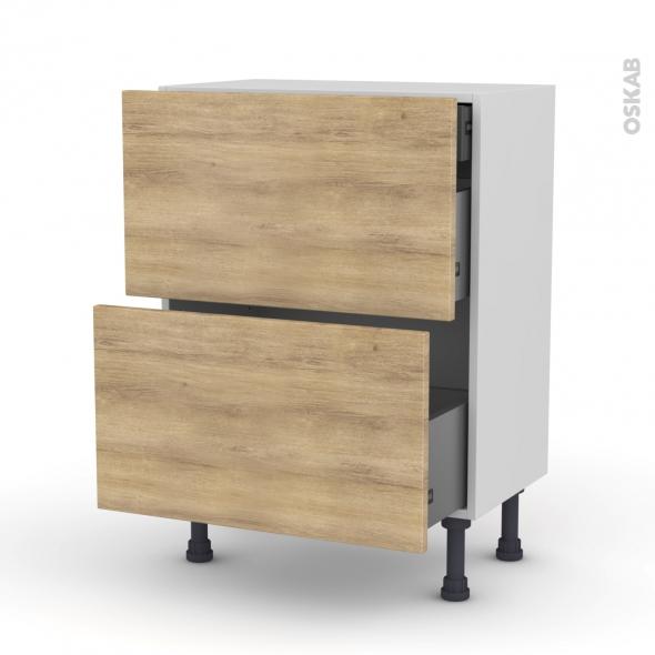 Meuble de cuisine - Casserolier - HOSTA Chêne naturel - 2 tiroirs 1 tiroir à l'anglaise - L60 x H70 x P37 cm